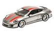 PORSCHE 911 R 2016 - SILVER W/ RED STRIPES AND W/ BLACK WRITING L.E. 504 pcs.