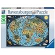 PUZZLE RAVENSBURGER 1500 dílků 163601 MAPA SVĚTA