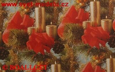 Vánoční papír Červené mašle + svíčky 3. vzor 50x70 cm luxusní 90g