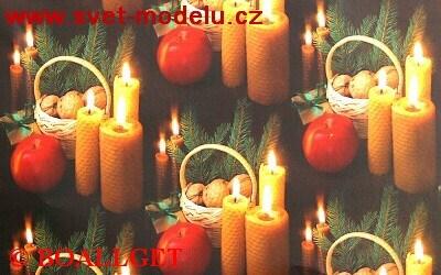 Vánoční papír Svíčky, jablíčka, ořechy 4. vzor 50x70 cm luxusní 90g