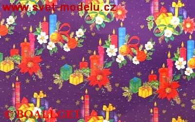 Vánoční papír Balíčky + barevné svíčky 6. vzor 50x70 cm luxusní 90g