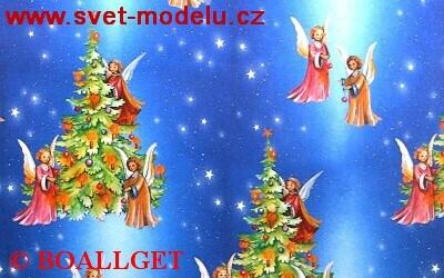 Vánoční papír Andělíčci + stromečky 7. vzor 50x70 cm luxusní 90g