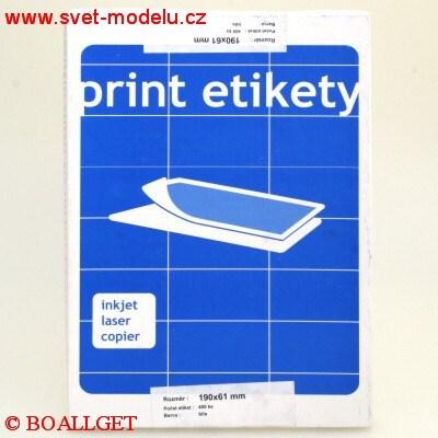 Samolepící etikety 190 x 61 PRINT pro laserové a inkoustové tiskárny A4, 100 listů v balení
