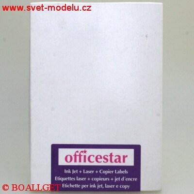 Samolepící etikety 105 x 37 OFFICESTAR pro laserové a inkoustové tiskárny A4, 100 listů v balení
