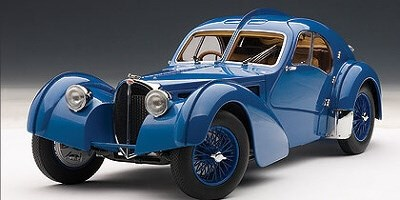 BUGATTI 57SC ATLANTIC 1938 BLUE WITH BLUE METAL WIRE-SPOKE WHEELS