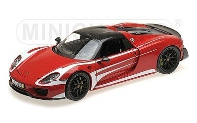 PORSCHE 918 SPYDER 2013 W/ WEISSACH PACKAGE RED W/ WHITE STRIPES L.E. 300 PCS.