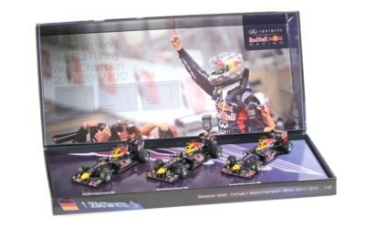 3 CAR SET RED BULL RACING SEBASTIAN VETTEL 3 TIMES WORLD CHAMPION 2010-2011-2012 L.E. 555 pcs.