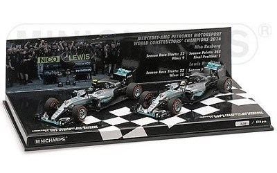 2-CAR SET MERCEDES AMG PETRONAS F1 TEAM W07 HYBRID CONSTRUCTOR WORLD CHAMPION 2016 L.E. 516 PCS.