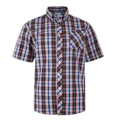b0876251bb9 Pánská košile NAVY kostkovaná KBS6021 krátký rukáv 3XL - 8XL - KAM ...