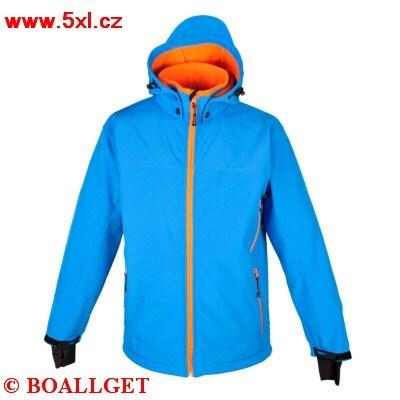 Pánská funkční bunda Deproc Softshell modrá s oranžovým zipem v nadměrných velikostech 3xl až 10xl