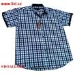 Pánská košile Kamro  vel. 6XL - 12XL bílo - modré káro krátký rukáv