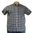 Pánská košile Kamro vel. 5XL - 6XL šedo - modré káro krátký rukáv