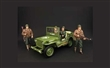 JEEP WILLYS US ARMY 1944 GREEN WITH 4 US ARMY FIGURES